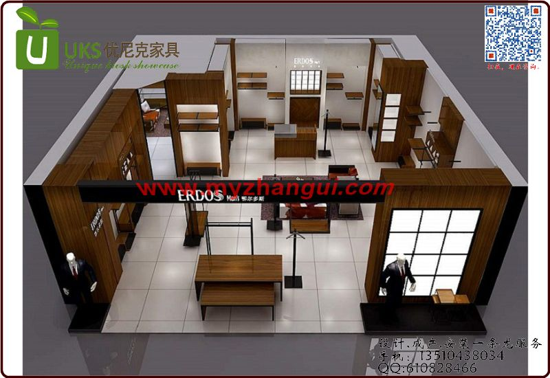 仿实木服装展示柜,服装店展柜生产工厂