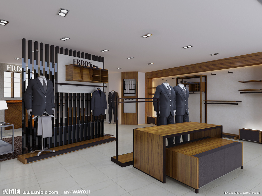 灯光效果的叠加让你的店铺有跌宕富丽的元素,同时也降低了服装展柜的